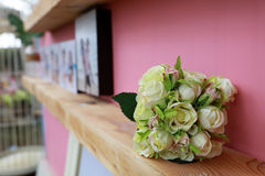 Flower of wedding. Rose flower bouquet put on the shelf during wedding ceremony royalty free stock photo