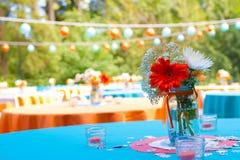 Flower Wedding Table Centerpiece Stock Photo