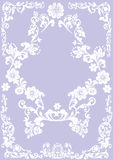 Flower white frame on lilac Stock Photos