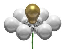 Flower of white and golden light bulbs on green wire Royalty Free Stock Photo