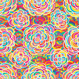 Flower white many colorful half circle seamless pattern Royalty Free Stock Image