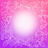 Flower white violet pink circle frame abstract background illustration Stock Photo