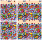 Flower wild bird hanging double seamless pattern royalty free illustration