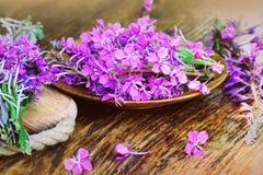 Flower Willowherb - Epilobium Angustifolium on wooden background. Top view Stock Images
