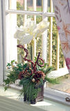 Flower Window Display. Amaryllis, pine needles, pine cones and ivy make up a beautiful bouquet in a sunny window Stock Images