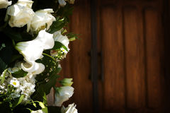 Flower With The Church Doors Before A Wedding Stock Photography