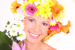 Flower woman. Portrait of a young woman with flowers Royalty Free Stock Photography