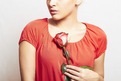 Flower. woman in red dress Royalty Free Stock Photos