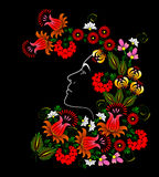 Flower. Woman's face. Vector in Ukrainian traditional painting Stock Photo