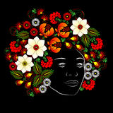 Flower. Woman's face. Vector in Ukrainian traditional painting Royalty Free Stock Photography