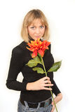 flower woman young Στοκ Εικόνα