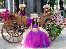 Flower women in carriage. Three young dark-skinned flower women in an carriage at Funcal, Madeira, Portugal Royalty Free Stock Images