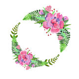 Flower. Wonderful beautiful pink and green floral wreath on white background Royalty Free Stock Photography