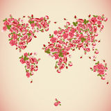 Flower World Map Eco Abstract background. Vector Design element. Invitation Card Design with Flowers Stock Photo