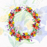 Beautiful card with floral wreath  Royalty Free Stock Photos