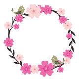 Flower Wreath With Bird Royalty Free Stock Image