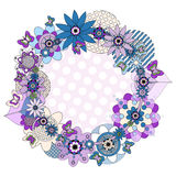 Flower wreath and butterflies Stock Photo