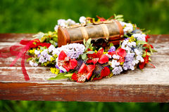 Flower wreath decoration with wooden box Stock Images