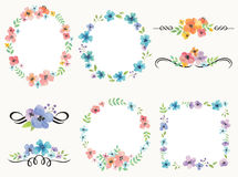 Flower wreath frame and decoration set. Illustration of flower wreath frame and decoration set Royalty Free Stock Images