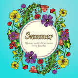 Flower wreath, garland, flower frame, border, summer landscape in the style boho, hippie. Bright and contrasting multicolored flowers and label for text Royalty Free Stock Images