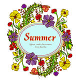 Flower wreath, garland, flower frame, border, summer landscape in the style of boho, hippie. Contrasting multicolored flowers. And label for text. Vintage card Royalty Free Stock Photo