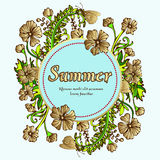 Flower wreath, gold garland, flower frame, border, summer landscape. In the style of boho, hippie. Golden flowers and label for text. Expensive, luxury Stock Image