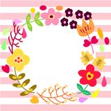 Flower Wreath Greeting Card Template Royalty Free Stock Image