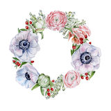 Flower wreath. Hand drawn watercolor illustration Royalty Free Stock Photography