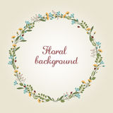 Flower Wreath Illustration - space for custom text - vector EPS10 Stock Photo