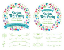 Flower Wreath Invitation and Design Elements Stock Image