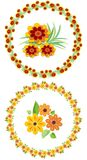 Flower wreath and motifs for your spring and summer design, cheerful colors Stock Photography