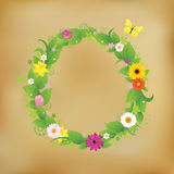 Flower Wreath On Old Paper Stock Photography