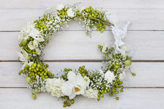 Flower wreath with orchids, carnations, hypericum and gypsophila Stock Images