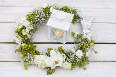 Flower wreath with orchids, carnations, hypericum and gypsophila Royalty Free Stock Photos