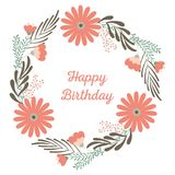Flower wreath, ornament concept for decorative greeting card or birhday invitation, wedding design background. Stock Images