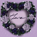Flower wreath in the shape of a heart for Valentine`s Day royalty free stock images