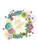 Flower wreath, succulent, rose, leaf round frame Stock Photos