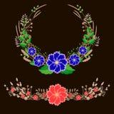 Flower wreath. Vector beautiful summer floral wreath vector illustration