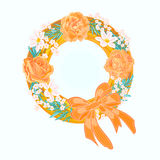 Flower wreath. S vector illustration eps 8 without gradients Stock Photo