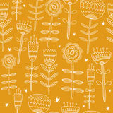 Flower yellow background. Vector illustration hand drawn with love, seamless pattern Royalty Free Stock Photography