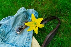A flower of a yellow lily sunglasses and a summer bag on a green grass. Concept of summer walks. A flower of a yellow lily sunglasses and a summer bag on a royalty free stock photography