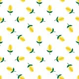 Flower yellow tulips pattern seamless on white background vector Stock Photo
