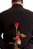 Flower For You. Young man holding a rose behind his back as a surprise for a girl Stock Photos