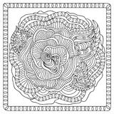 Flower zentangle coloring page Stock Images