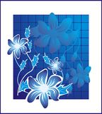 Flower2 blue. Abstract background with flower isolated Royalty Free Stock Photo