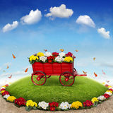 Flowerbed. The beautiful Background with Flowerbed and Flowercart Royalty Free Stock Photos