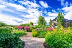 Flowerbed at Botanical garden stock images