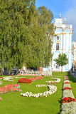 Flowerbed and Catherine Palace in Tsarskoe Selo. Stock Photos