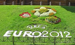 Flowerbed for EURO 2012. In Kiev Royalty Free Stock Photography