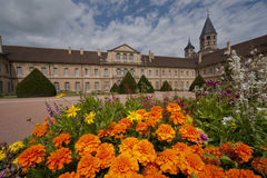 Flowerbed front of cluny abbey Royalty Free Stock Images